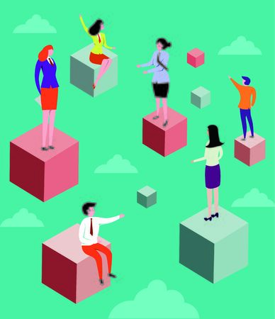 Concept of business team exploring opportunities for mergers and cooperation Illustration