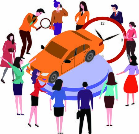 A group of people discussing on car listing time Standard-Bild - 133530755