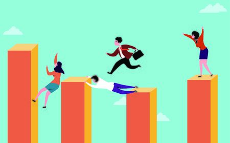 conceptual image of business people competitive jumping among finance column