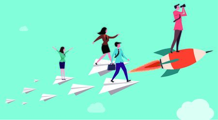 conceptual image of Blue background with staff flying to the future on a combined paper plane