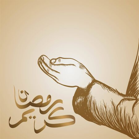 Hand of muslim people praying, to celebrate the month of Ramadan, vector illustration