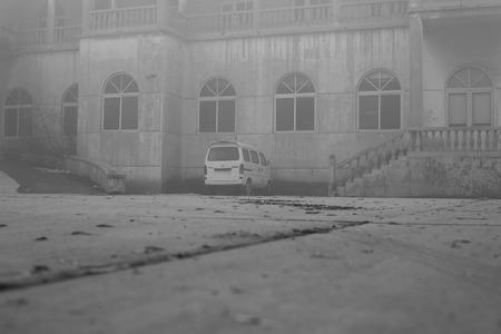 old building: old building in haze