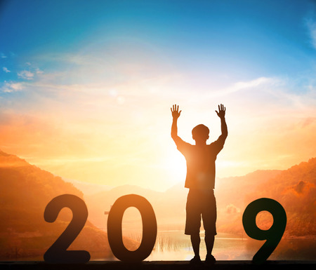 2019 with sunset background