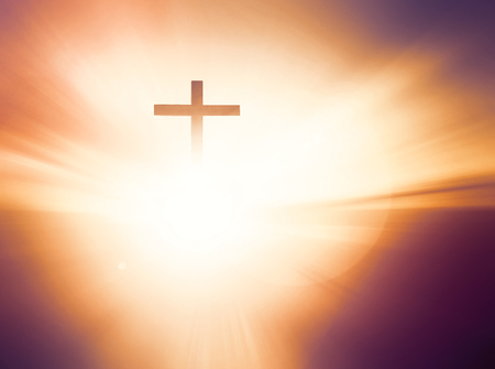 Jesus Christ Birth Death Resurrection ConceptTomb Empty With Crucifixion At Sunrise Stock Photo
