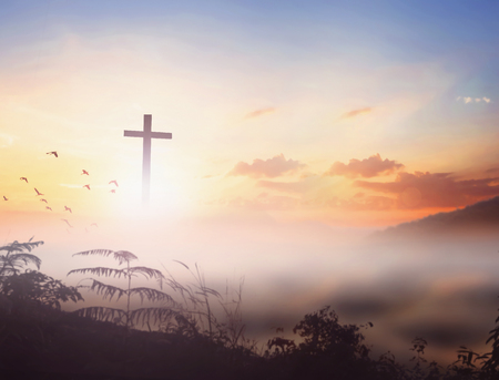 Christ Jesus concept: cross in the morning  sunrise