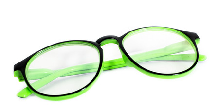 Protective eye concept: glasses on white background