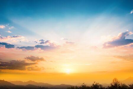 Sun light and autumn sunset background Stockfoto