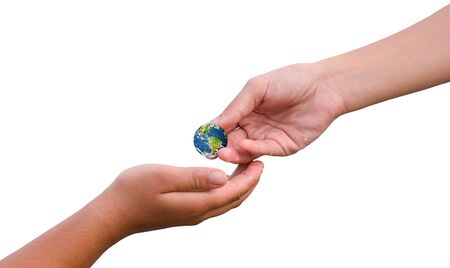International Day of Charity concept: hand holding earth globe give others over nature background