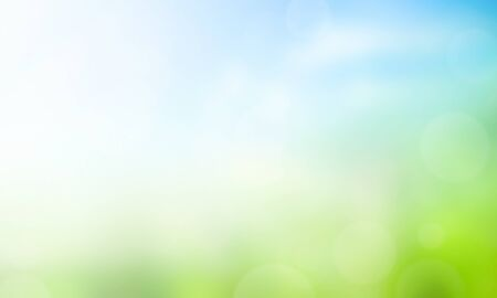 World Environment Day concept: Abstract blurred beautiful green and blue sky background