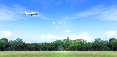 World Environment Day concept: Airplane in the blue sky and cloud 免版税图像