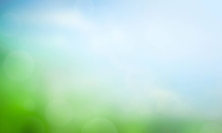 World Environment Day concept: blurred beautiful green nature with blue sky background