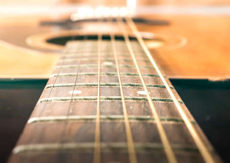 Music concept: Acoustic guitar on soft light background 스톡 콘텐츠