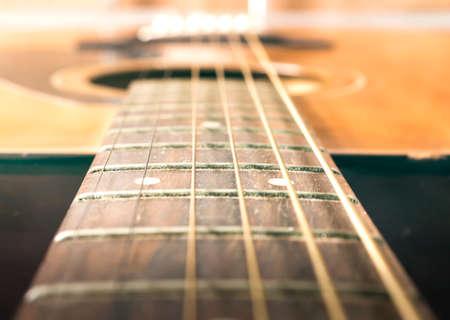 Music concept: Acoustic guitar on soft light background 免版税图像