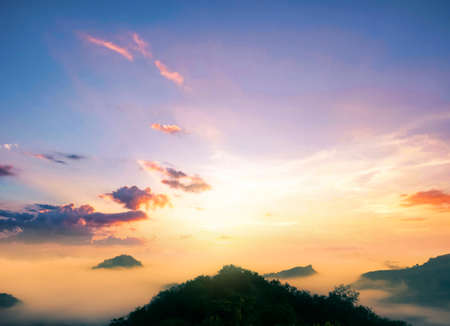 colorful sunset on top of mountain 免版税图像