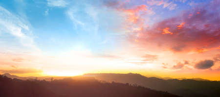 Amazing panorama mountain with Colorful sky and Dramatic Sunset