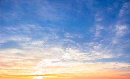 Sunrise sky background concept: Scenic orange sunset sky background