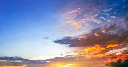 World environment day concept: Panoramic photo bright spring sunset with blue sky