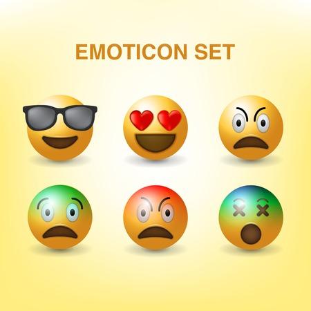set emoticons vector Illustration