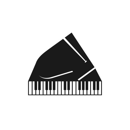 Piano keys vector flat black and white logo emblem, piano keyboard poster, music lesson symbol isolated on gray notes background