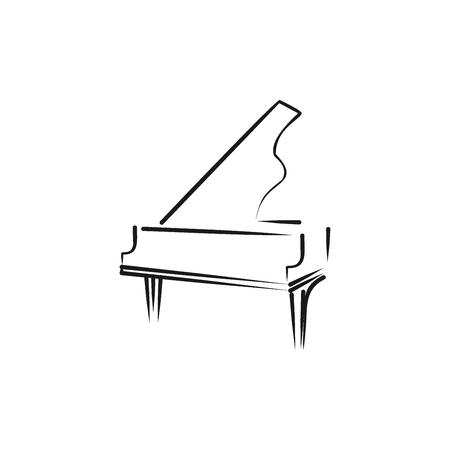 Modèle de conception de médias de musique logo piano à queue, conception de vecteur. Meilleure utilisation pour magasin, application, boutique, publication, publicité, concert, concours, compétition. style noir et blanc Logo