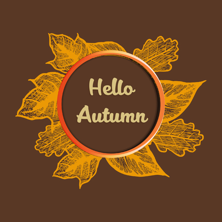 Hello Autumn banner vector illustration  イラスト・ベクター素材