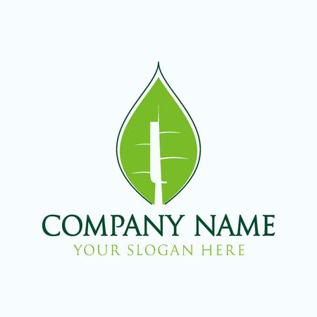 initial I logo leaf Ilustração