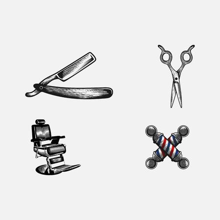 Set vintage Barbershop tool Banque d'images