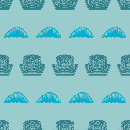 Seamless pattern bakery product vector illustration