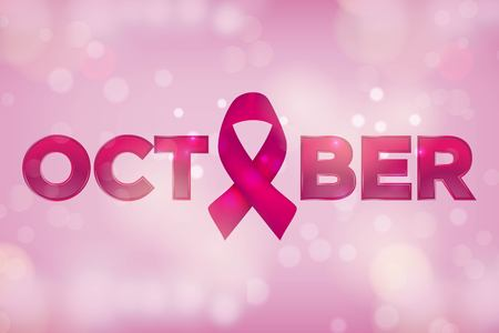 Realistic pink ribbon, breast cancer awareness symbol, vector illustration Vectores