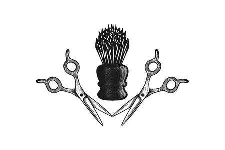 理髪店のロゴデザインのインスピレーション ベクターイラストレーション
