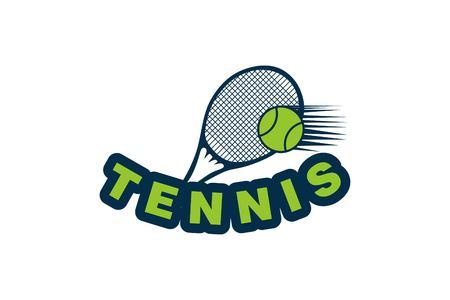 racket tennis and ball logo design 向量圖像