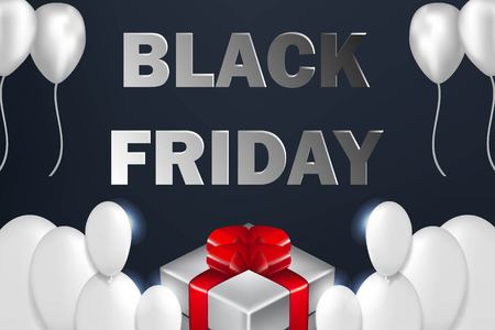 Black Friday Sale Poster with Shiny Balloons on dark Background with gift box