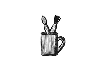 Mug and Brush tools Designs Inspiration, Vector Illustration Illustration