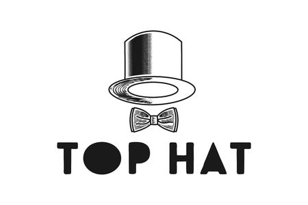 Hand drawn Hat and tie logo design inspiration Isolated On white Backgrounds