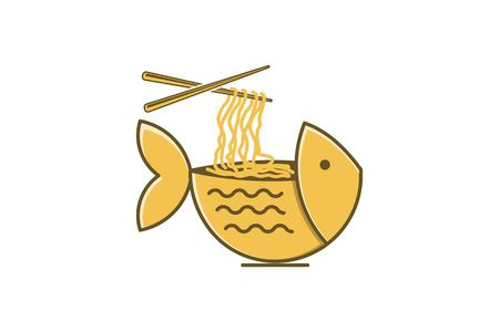Bowl fish, noodle logo design inspiration Isolated On white Backgrounds