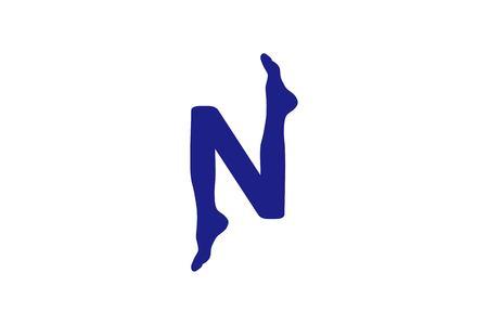 Buchstabe N und Fußakupunktur-Logo-Designs Inspiration isoliert auf weißem Hintergrund
