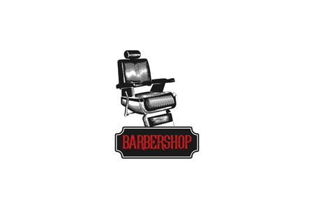 hand drawn vintage chair barber shop logo Designs Inspiration Isolated on White Background