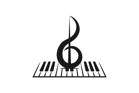 Piano, violín, diseños de logotipo musical inspiración aislado sobre fondo blanco.