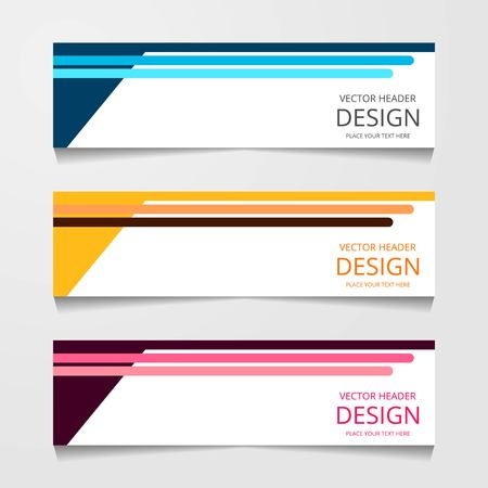 Abstract design banner, web template with three different color, layout header templates, modern vector illustration  イラスト・ベクター素材