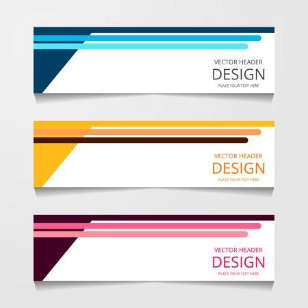 Banner de diseño abstracto, plantilla web con tres colores diferentes, plantillas de encabezado de diseño, ilustración vectorial moderna