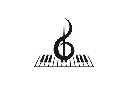 Violín, piano, instrumento musical, inspiración Diseños de logotipo aislado sobre fondo blanco.