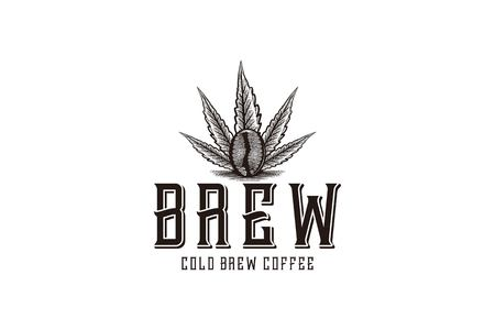 brewing, marijuana leaf and coffee logo Designs Inspiration Isolated on White Background Illustration