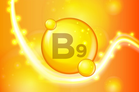 Vitamin B9 gold shining pill capsule icon . Vitamin complex with Chemical formula. shine gold sparkles. medical and pharmaceutical ads. Vector illustration 일러스트