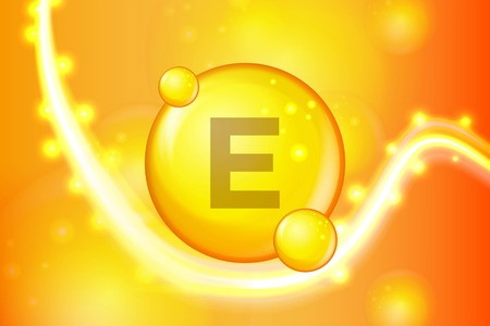 Vitamin E gold shining pill capsule icon . Vitamin complex with Chemical formula. shine gold sparkles. medical and pharmaceutical ads. Vector illustration Illustration