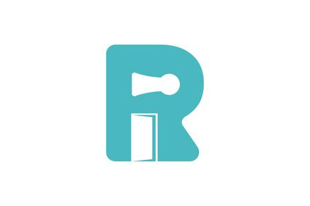 initial R, whole key, opened door logo Designs Inspiration Isolated on White Background