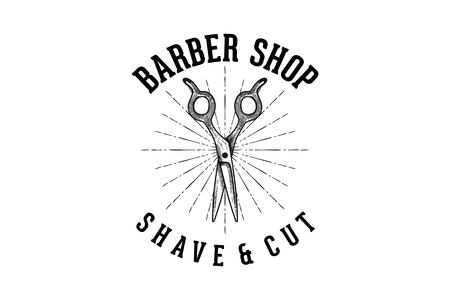 hand drawn scissor, vintage barber shop logo Designs Inspiration Isolated on White Background