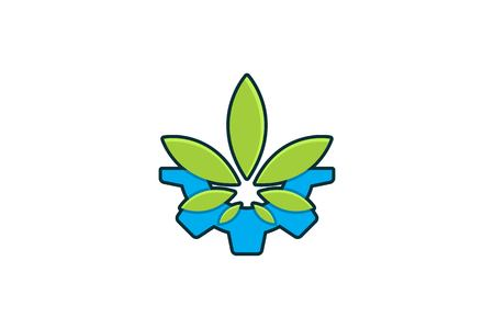 gear and cannabis leaf logo Designs Inspiration Isolated on White Background