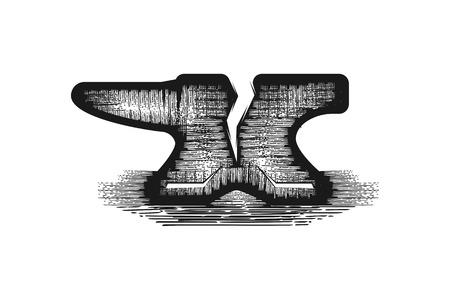 hand drawn forge logo Designs Inspiration Isolated on White Background Illustration