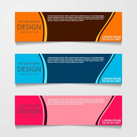 Abstract design banner, web template with three different color, layout header templates, modern vector illustration Illustration