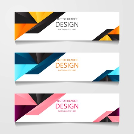 Abstract design banner, web template with three different color, layout header templates, modern vector illustration